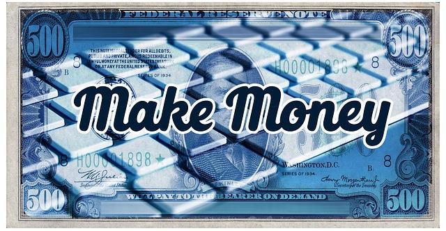 nápis make money, v pozadí modrá bankovka